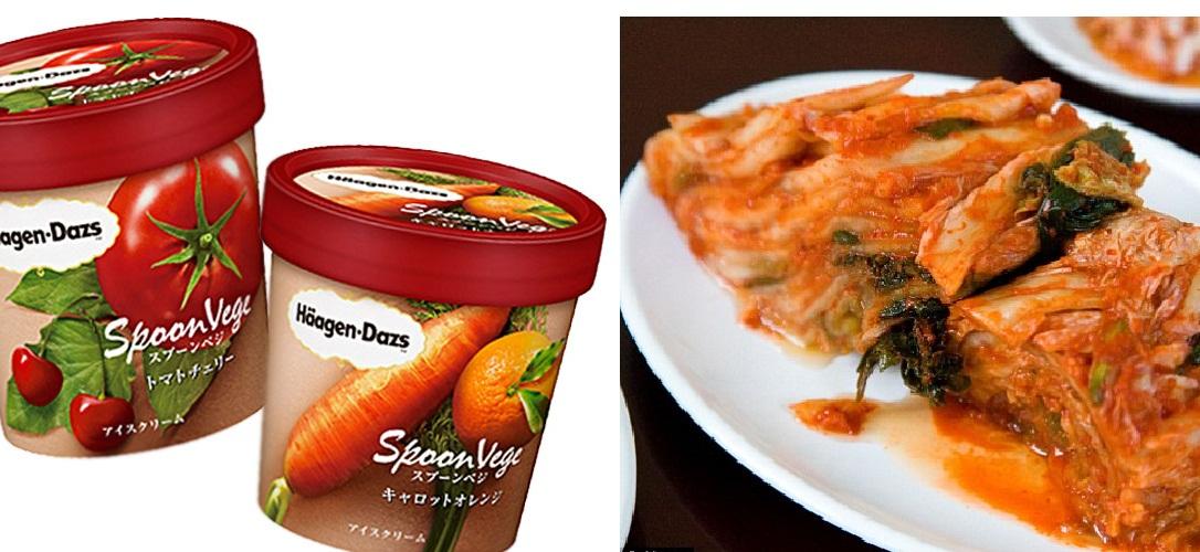 zöldséges fagylalt és kimchi