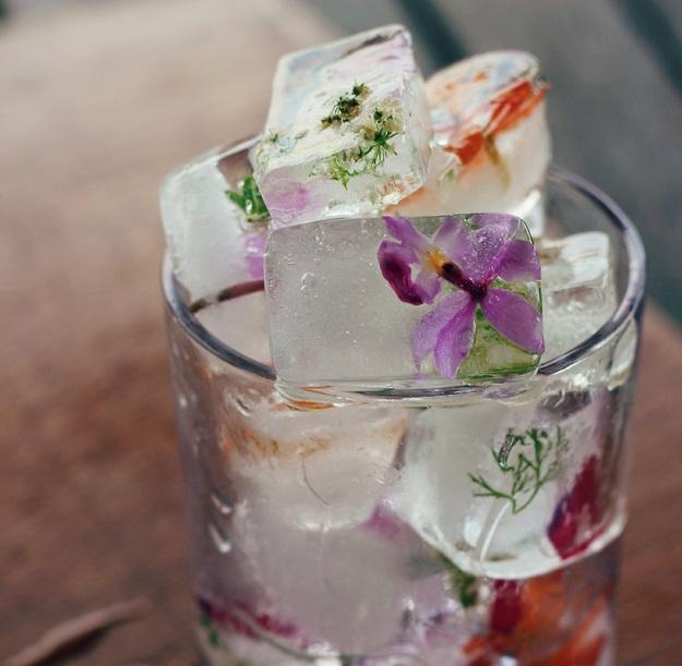 ehető virágos jégkocka
