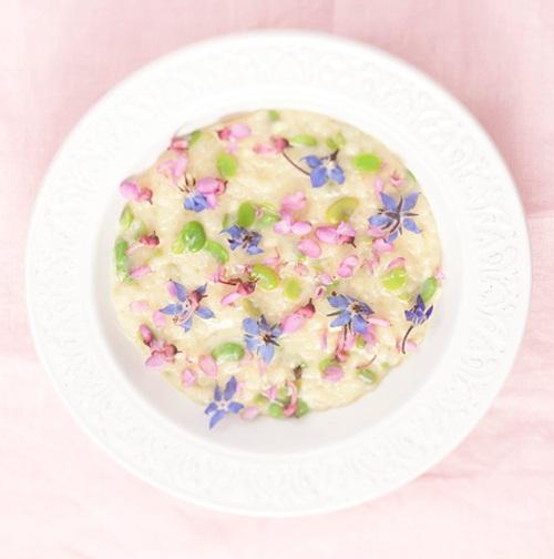 ehető virágos rizottó